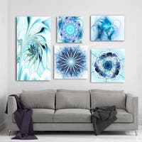 Designart - Blue Flower Collection - Abstract Wall Art set of 5 pieces