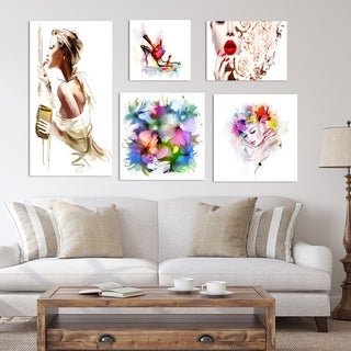 Designart - Fashion Collection - Traditional Wall Art set of 5 pieces - Multi-color