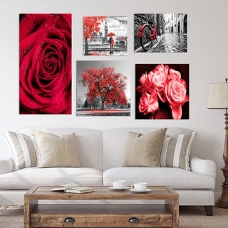 Designart - Rose Collection - Traditional Wall Art set of 5 pieces - Red