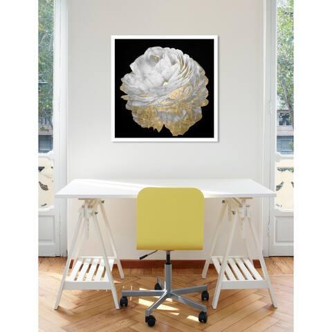 Oliver Gal 'Gold and Light Floral' Floral Black/ Gold Framed Wall Art Print