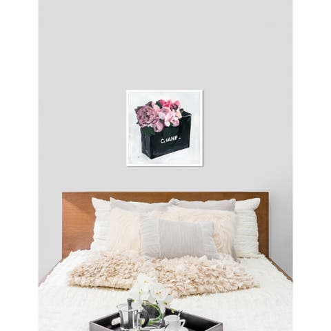 Oliver Gal 'Peony Bag' Fashion Black/ Pink Framed Wall Art Print