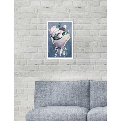 Oliver Gal 'Delivery For Her' Floral Blue Contemporary Framed Wall Art Print