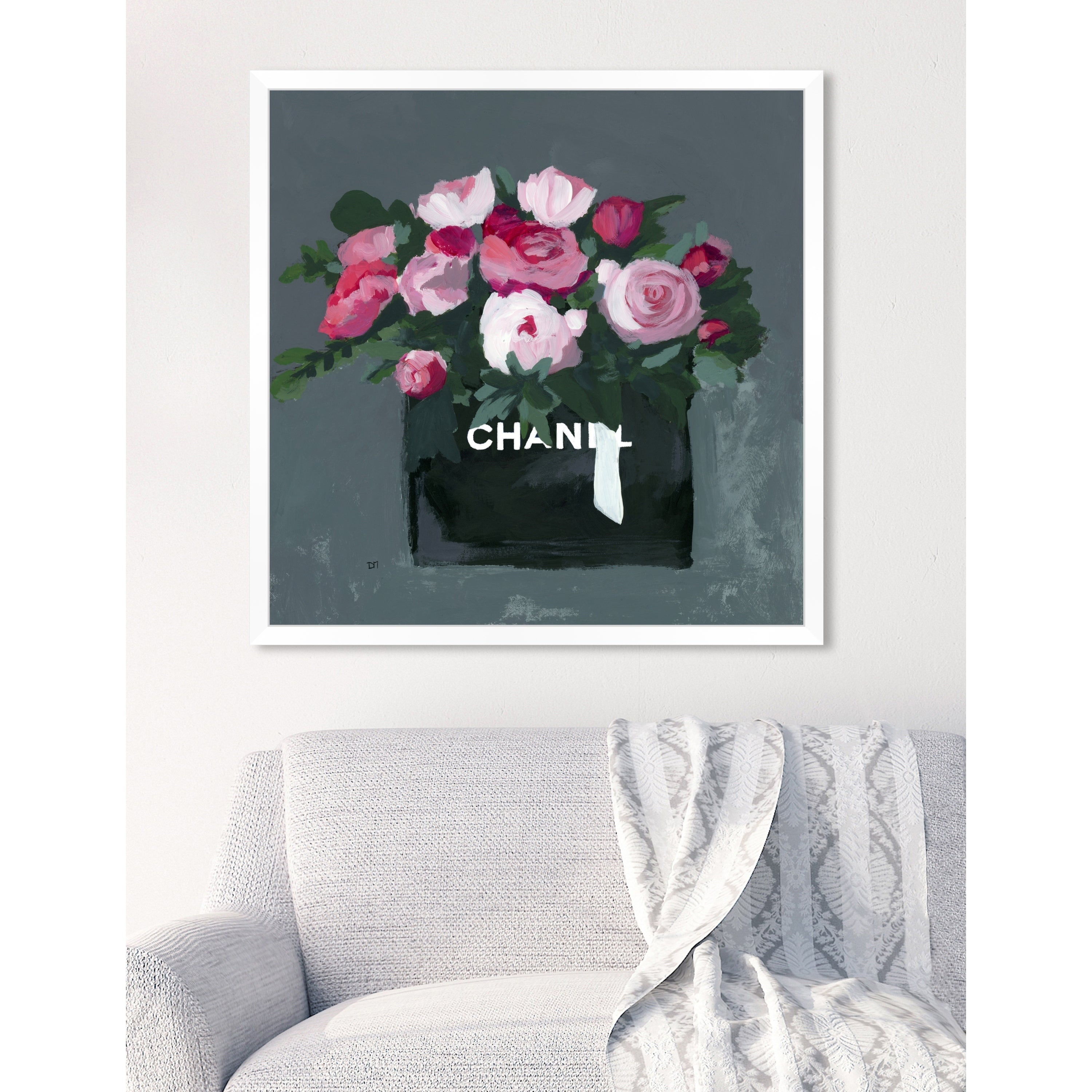 Oliver Gal Pink Bouquet Floral Grey Contemporary Framed Wall Art Print Overstock 24299884
