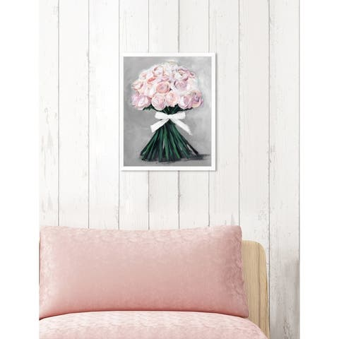 Oliver Gal 'Loveliest Bouquet Soft Grey' Floral Pink Contemporary Framed Wall Art Print