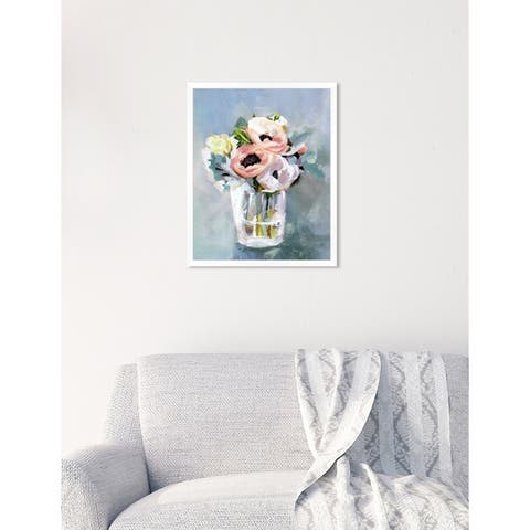 Oliver Gal 'Natura Mora Dusty Blue' Floral Blue Contemporary Framed Wall Art Print