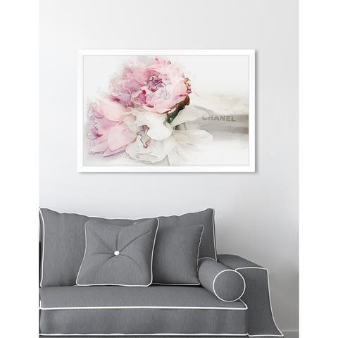 Oliver Gal 'Peonies Love Bouquet' Floral Pink Contemporary Framed Wall Art Print