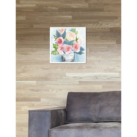Oliver Gal 'Wild Floral Jam' Pink Floral Contemporary Framed Wall Art Print