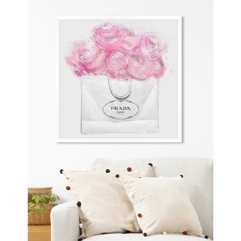 Oliver Gal 'Shopping for Peonies Light' Pink/ Grey Fashion Framed Wall Art Print
