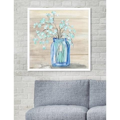Oliver Gal 'Mason Jar Flowers' Blue Floral Contemporary Framed Wall Art Print