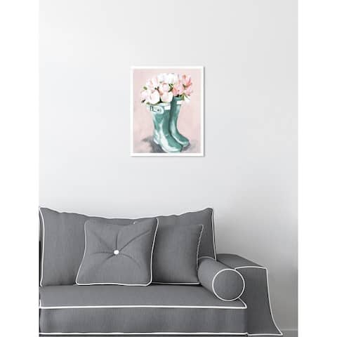 Oliver Gal 'Pastel Rainboots and Flowers' Pink Floral Contemporary Framed Wall Art Print