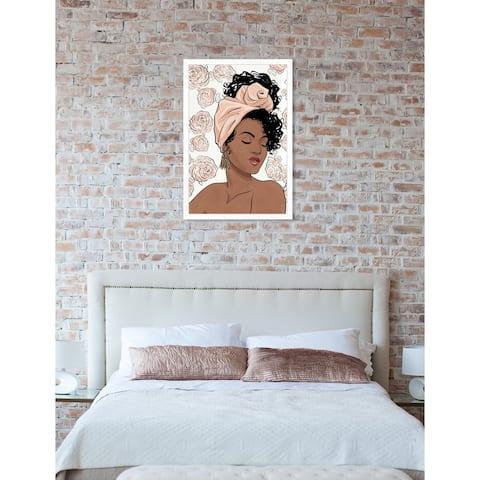 Oliver Gal 'Flower Blush Girl' Pink Fashion Framed Wall Art Print