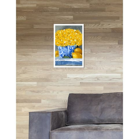 Oliver Gal 'Cook Book Love Tall' Contemporary Yelllow Floral Framed Wall Art Print