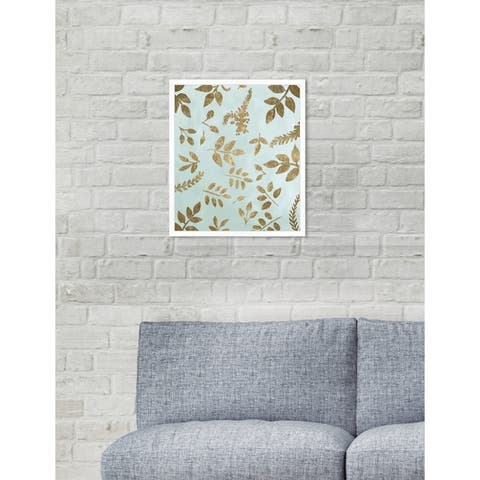 Oliver Gal 'Golden Leaves' Contemporary Blue Floral Framed Wall Art Print