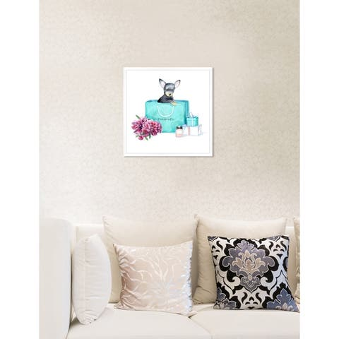 Oliver Gal 'acqua chic chihuahua' Contemporary Teal Blue Floral Framed Wall Art Print