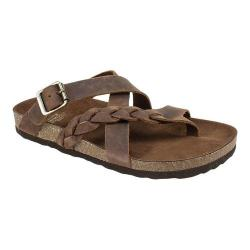 Women's White Mountain Hansen Thong Sandal Brown Leather