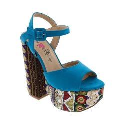 Women's Penny Loves Kenny Skip Platform Sandal Blue Micro Suede