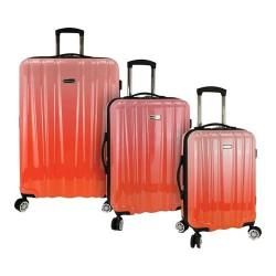 Traveler's Choice Ruma Ombre 3-Piece Expandable Spinner Luggage Set Coral