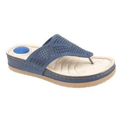 Women's Cliffs by White Mountain Carma Thong Sandal Navy Sueded Smooth Polyurethane