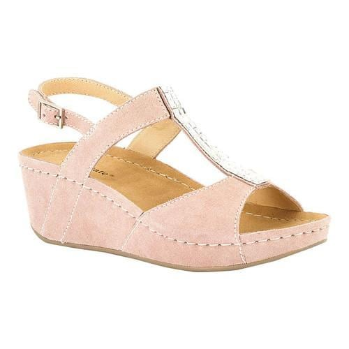 Women's David Tate Bubbly Wedge Slingback Sand Suede