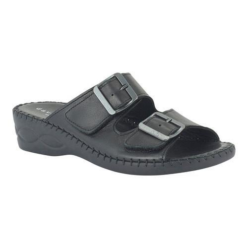 Women's David Tate Sol Slide Black Calfskin