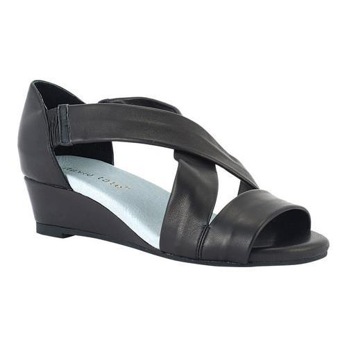 Women's David Tate Swell Wedge Sandal Black Lambskin