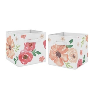 Sweet Jojo Designs Peach and Green Watercolor Floral Collection Storage Bins (Set of 2)