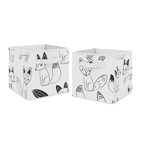 Sweet Jojo Designs Black and White Fox Collection Storage Bins (Set of 2)
