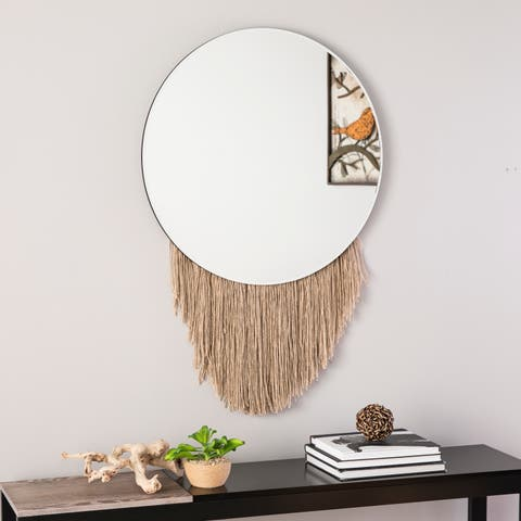 Pascow Round Decorative Mirror - Natural