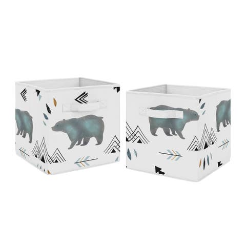 Sweet Jojo Designs Slate Blue and White Watercolor Bear Mountain Collection Storage Bins (Set of 2)