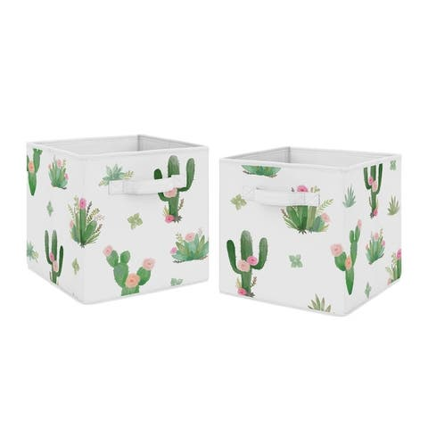 Sweet Jojo Designs Pink and Green Boho Watercolor Cactus Floral Collection Storage Bins (Set of 2)