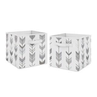Sweet Jojo Designs Grey and White Woodland Mod Arrow Collection Storage Bins (Set of 2)