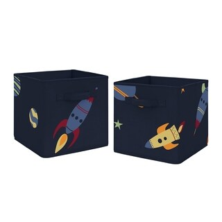 Sweet Jojo Designs Navy Blue Planets Space Galaxy Collection Storage Bins (Set of 2)