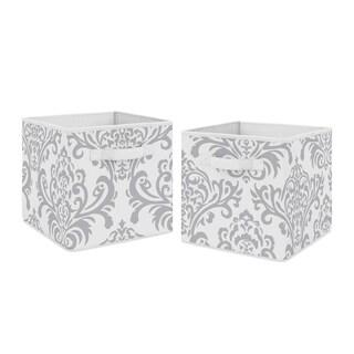 Sweet Jojo Designs Gray and White Damask Skylar Collection Storage Bins (Set of 2)