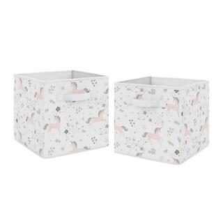Sweet Jojo Designs Pink, Grey and Gold Unicorn Collection Storage Bins (Set of 2)