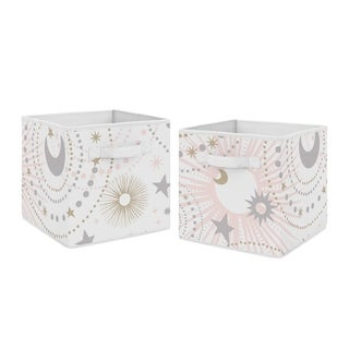 Sweet Jojo Designs Blush Pink, Gold and Grey Star and Moon Celestial Collection Storage Bins (Set of 2)