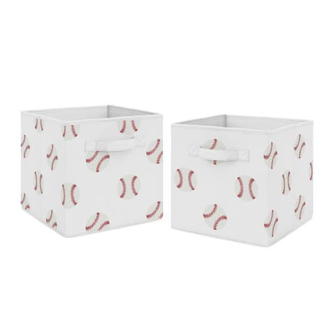 Sweet Jojo Designs Red and White Sports Baseball Patch Collection Storage Bins (Set of 2)