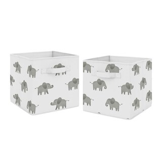 Sweet Jojo Designs Grey and White Watercolor Elephant Safari Collection Storage Bins (Set of 2)