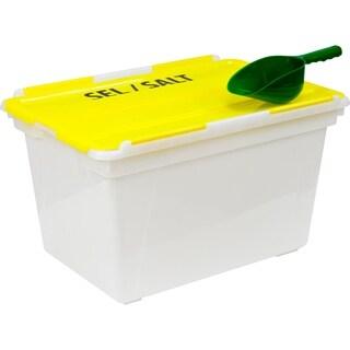 Storex Large (16 Gallon) Rock Salt Bin with Scoop, Yellow, 4-Pack