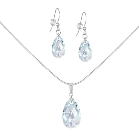 Handmade Jewelry by Dawn Crystal Light Blue Aurora Borealis Teardrop Sterling Silver Necklace and Earring Set (USA)