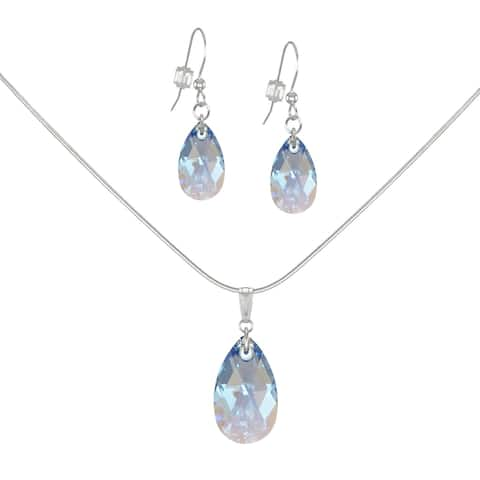 Handmade Jewelry by Dawn Crystal Sapphire Blue Aurora Borealis Teardrop Sterling Silver Necklace and Earring Set (USA)