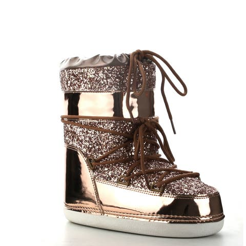 Cape Robbin Women's Rose Gold Patent Leather Glitter Shiny Mixed Media Flatform Moon Boot
