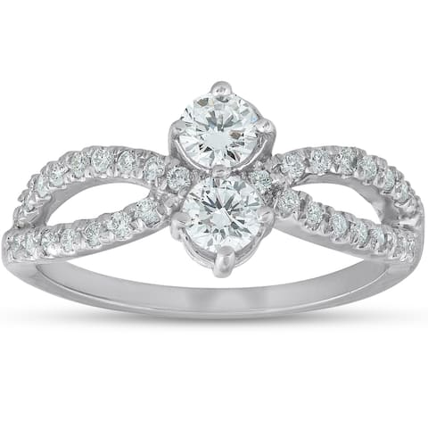Pompeii3 14k White Gold 3/4 ct TDW Two Stone Diamond Engagement Anniversary Fashion Ring