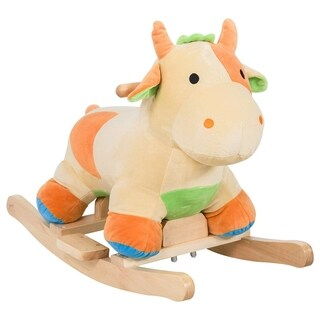 Qaba Kids Rocking Horse Toy Cow Ride On Rocker- Brown with Realistic Sounds