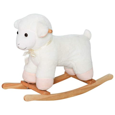 Lamb Rocking Horse Sheep, Nursery Stuffed Animal Ride On Rocker for Kids