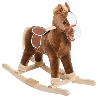 Link to Qaba Kids Plush Toy Rocking Horse Ride on with Realistic Sounds - Brown Similar Items in Bicycles, Ride-On Toys & Scooters