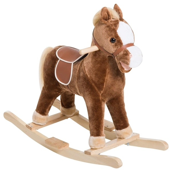 Qaba Kids Plush Toy Rocking Horse Ride on with Realistic Sounds - Brown. Opens flyout.