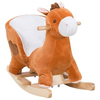 Qaba Kids Plush Toy Ride on Walking Horse with Wheels and Realistic Sounds - Pink
