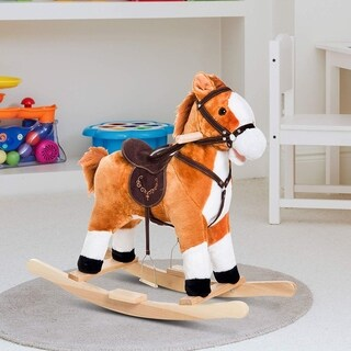 Qaba Kids Plush Toy Rocking Horse Ride on with Realistic Sounds Moving Mouth & Tail - Brown