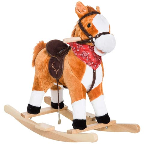 Qaba Kids Plush Toy Rocking Horse Ride on with Realistic Sounds & Tail with Red Scarf