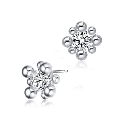 Collette Z Sterling Silver with Rhodium Plated Balls with Clear Round Cubic Zirconia Stud Earrings
